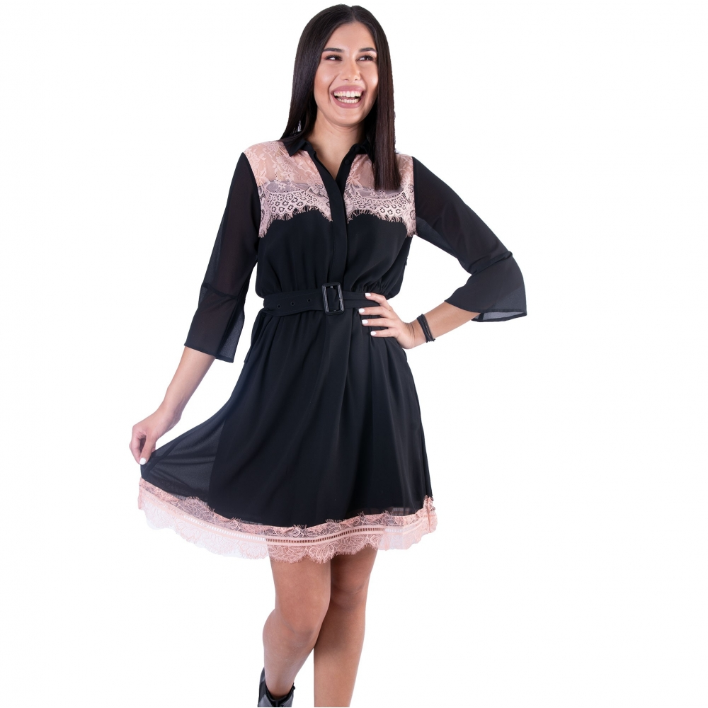 FRACOMINA CIRCLE DRESS  F120W14038W00401 - H36   BLACK PEACH