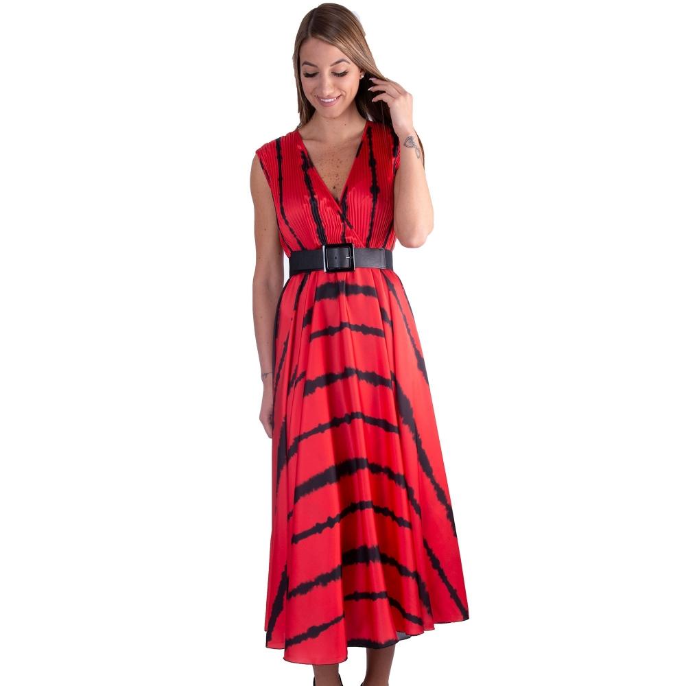MOTEL MIDI DRESS RED   A2108 RED - BLACK