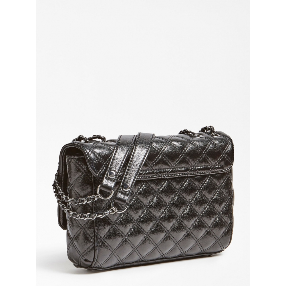 GUESS ΤΣΑΝΤΑ ΧΕΙΡΟΣ - ΩΜΟΥ CESSILY QUILTED CROSSBODY  HWCM7679210 BLACK