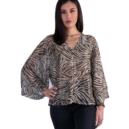 ANNA SAMOUKA ANIMAL PRINT ΜΠΛΟΥΖΑ  10812 GOLD