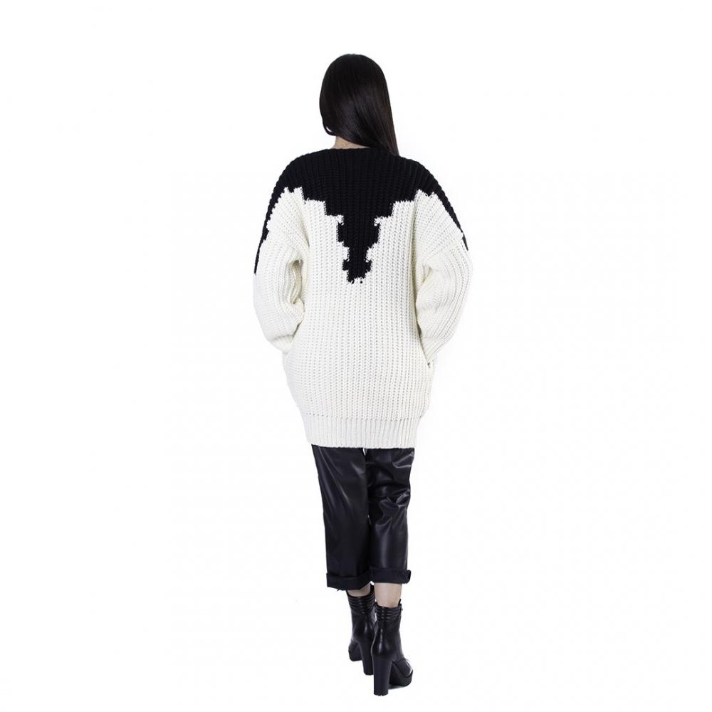 AGGEL ΑΣΠΡΟΜΑΥΡΗ ΠΛΕΚΤΗ ΖΑΚΕΤΑ W02122K BLACK /WHITE