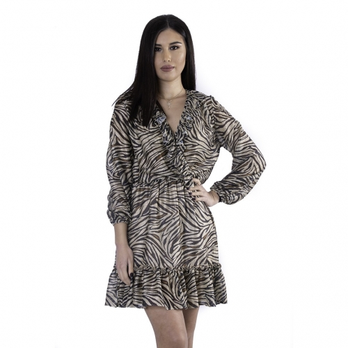 ANNA SAMOUKA MINI DRESS ANIMAL PRINT 10832 ANIMAL PRINT